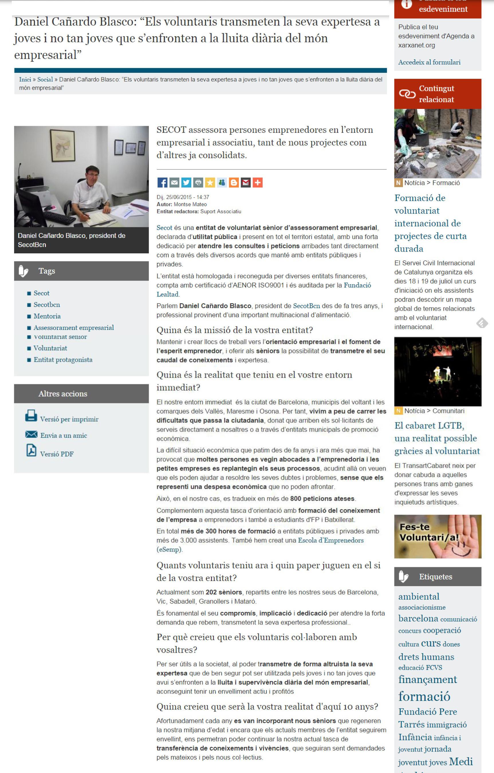 Xarxanet.org,dissabte 27 de juny. Entrevista a Daniel Cañardo Blasco, president de Secotbcn.Podeu llegir-la aquí http://bit.ly/1FKKPfg.
